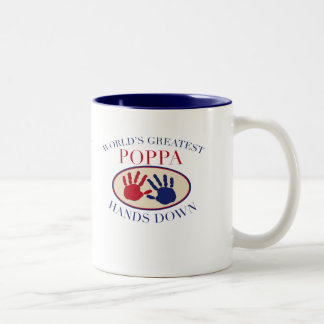 Best Poppa Hands Down Two-Tone Coffee Mug