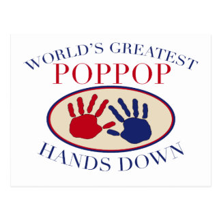 Best PopPop Hands Down Postcard