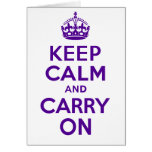 Best Price Authentic Keep Calm And Carry On Purple Greeting Card