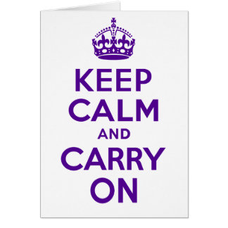 Best Price Authentic Keep Calm And Carry On Purple Card