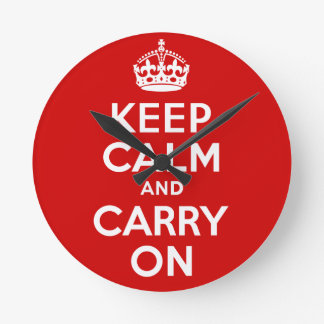 Best Price Authentic Keep Calm And Carry On Red Round Clock