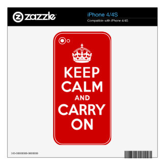Best Price Authentic Keep Calm And Carry On Red Skins For The iPhone 4S