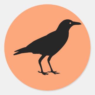 Best Price Black Crow Orange Halloween Classic Round Sticker