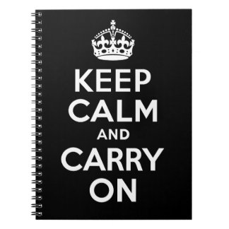 Best Price Keep Calm And Carry On Black and White Notebook