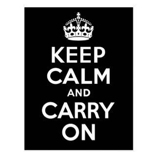 Best Price Keep Calm And Carry On Black and White Postcard