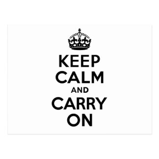 Best Price Keep Calm And Carry On Black Postcard