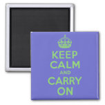 Best Price Keep Calm And Carry On Blue and Green 2 Inch Square Magnet