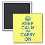 Best Price Keep Calm And Carry On Blue and Yellow 2 Inch Square Magnet
