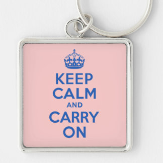 Best Price Keep Calm And Carry On Blue Silver-Colored Square Keychain