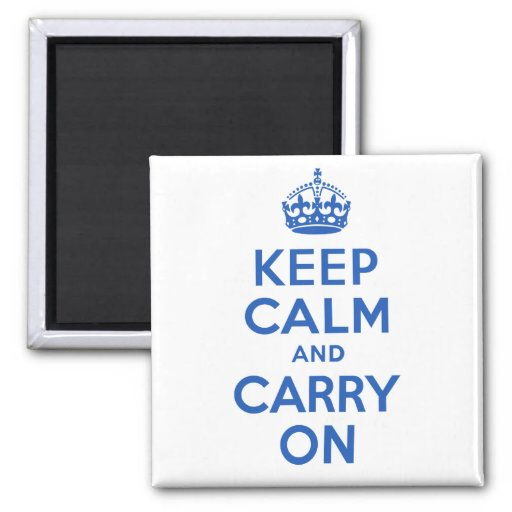 Best Price Keep Calm And Carry On Blue 2 Inch Square Magnet
