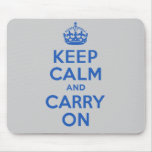 Best Price Keep Calm And Carry On Blue Mousepads