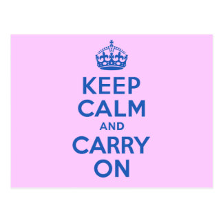 Best Price Keep Calm And Carry On Blue Postcard