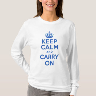 Best Price Keep Calm And Carry On Blue T-Shirt