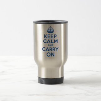Best Price Keep Calm And Carry On Blue Travel Mug