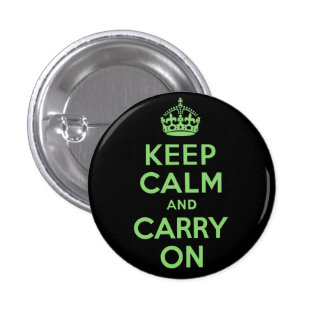 Best Price Keep Calm And Carry On Green and Black Button