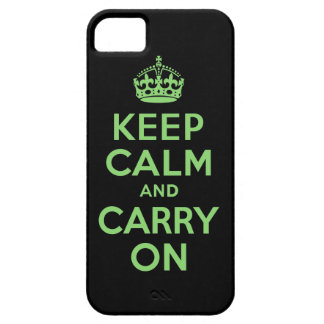 Best Price Keep Calm And Carry On Green and Black iPhone 5 Cover