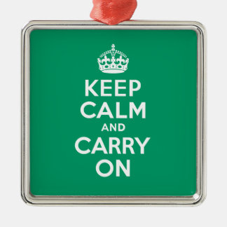 Best Price Keep Calm And Carry On Green and White Christmas Ornament