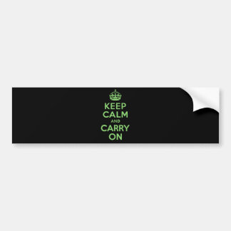 Best Price Keep Calm And Carry On Green Car Bumper Sticker