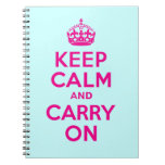 Best Price Keep Calm And Carry On Hot Pink & Teal Spiral Notebook