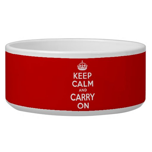 Best Price Keep Calm And Carry On Original Red Pet Food Bowls