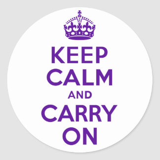 Best Price Keep Calm And Carry On Purple Classic Round Sticker