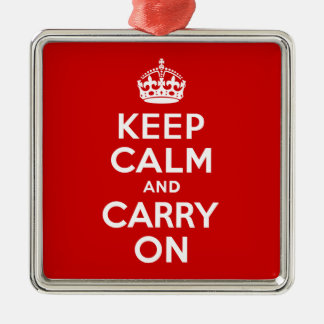 Best Price Keep Calm And Carry On Red and White Christmas Ornament