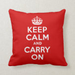 Best Price Keep Calm and Carry On Red & White Pillow