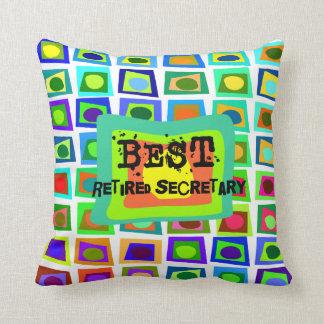 Best Retired Secretary PIllow Artsy Squares Design