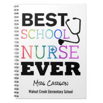 Best School Nurse Ever Personalized Typography Notebook