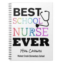 Best School Nurse Ever Personalized Typography Spiral Notebook