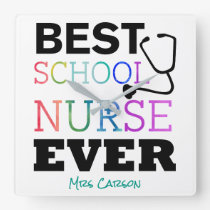 Best School Nurse Ever Personalized Typography Square Wall Clock
