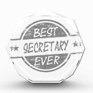 Best Secretary Ever Gray Acrylic Award