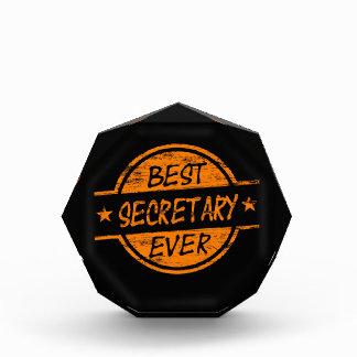 Best Secretary Ever Orange Acrylic Award
