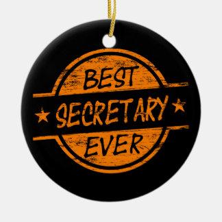 Best Secretary Ever Orange Ceramic Ornament
