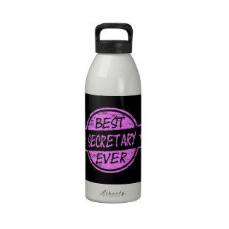 Best Secretary Ever Pink Reusable Water Bottle