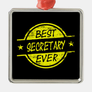 Best Secretary Ever Yellow Metal Ornament