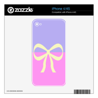 BEST-SELLING AMAZING DESIGN PINK BLUE BOW DECAL FOR THE iPhone 4