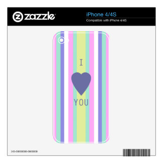 BEST-SELLING AMAZING LOVE DESIGN WITH STRIPES SKINS FOR iPhone 4