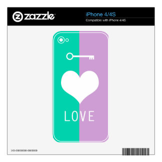 BEST-SELLING AMAZING ORIGINAL HEART LOVE & KEY DECALS FOR iPhone 4