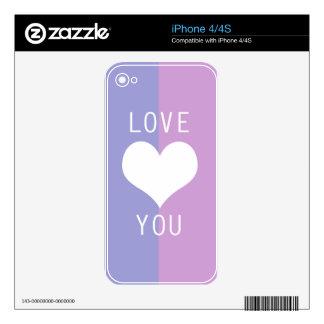 BEST-SELLING AMAZING ROMANTIC LOVE DESIGN iPhone 4S SKIN