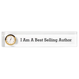 Best Selling Author Desk Nameplate with Clock