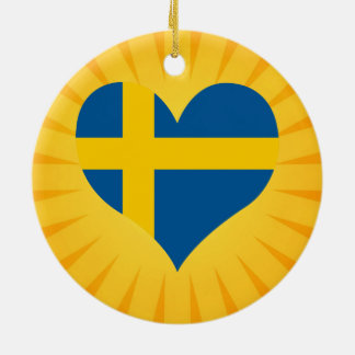 Best Selling Cute Sweden Double-Sided Ceramic Round Christmas Ornament