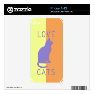 BEST-SELLING LOVE CATS ORIGINAL DESIGN DECAL FOR iPhone 4