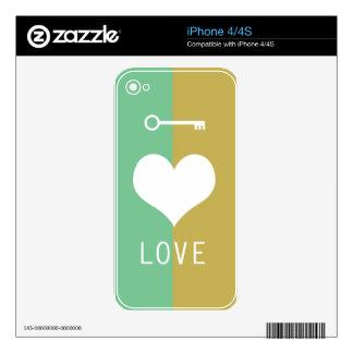 BEST-SELLING ORIGINAL HEART LOVE & KEY DESIGN iPhone 4 DECAL