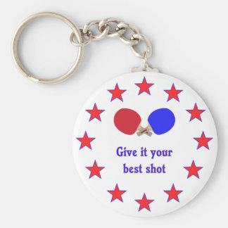 Best Shot Ping Pong Basic Round Button Keychain