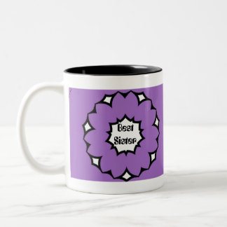 Best Sister, Big Purple & White Flower Mug