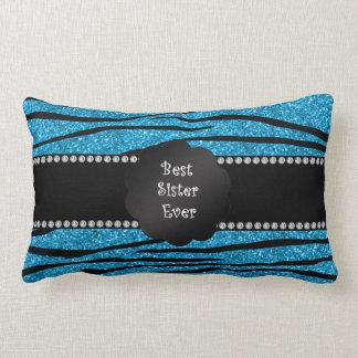 Best sister ever blue glitter zebra stripes throw pillows