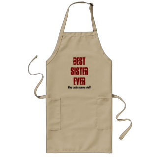 Best Sister Ever Custom Name or Sentiment Red W941 Long Apron