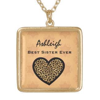 Best Sister Ever GOLD Leopard Heart Custom V06 Square Pendant Necklace