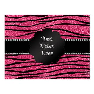 Best sister ever pink glitter zebra stripes postcard